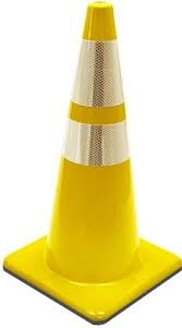 "28"" Yellow Traffic Cones with Collars"