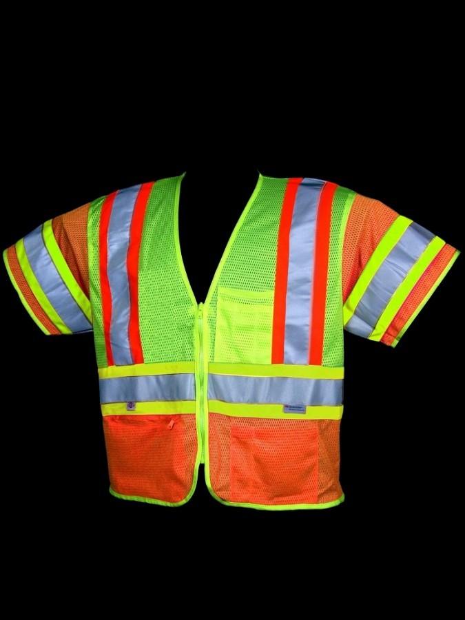 V275 Class 3 Orange/Lime Mesh Safety Vest
