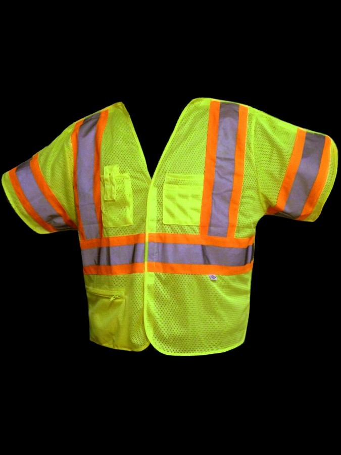 VB155 Class 3 Lime Tear-Away Mesh Safety Vest