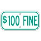 "G-13DRA3 12"" x 6"" Green $100 Fine Sign"
