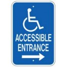 "G-65RRA5 12"" x 18"" Accessible Entrance Sign with Arrow"