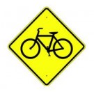 "W11-1S 24"" x 24"" High Intensity Bike Crossing Symbol Sign"