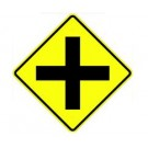 "W2-1 30"" x 30"" High Intensity Cross Road Symbol Sign"