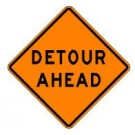 "W20-2 36"" x 36"" High Intensity Prismatic Detour Ahead Sign"
