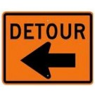 "M4-9l 30"" x 24"" High Intensity Detour with Left Arrow Sign"