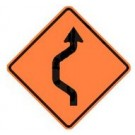 "W24-1 36"" x 36"" High Intensity Prismatic Single Reverse Curve Detour Sign"