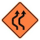 "W24-1a 36"" x 36"" High Intensity Prismatic Double Reverse Curve Detour Sign"