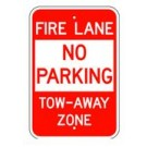 "R-401RA5 12"" x 18"" EGR Grade Fire Lane No Parking Tow-Away Zone Sign"
