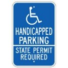 G-55RA5 Handicapped Parking State Permit Required Sign