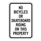 "G-49RA5 12"" x 18"" EGR Grade No Bicycles or Skateboard Sign"