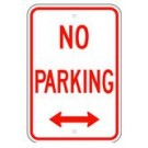 "R-46RA5 12"" x 18"" EGR Grade No Parking Arrow Both Ways Sign"