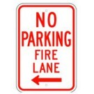 "R-54LRA5 12"" x 18"" EGR Grade No Parking Fire Lane Arrow Left Sign"