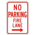 "R-54RRA5 12"" x 18"" EGR Grade No Parking Fire Lane Arrow Right Sign"