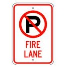 "R-104RA5 12"" x 18"" EGR Grade No Parking Symbol Fire Lane Sign"