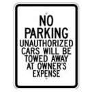 "G-99RA9 18"" x 24"" EGR Grade No Parking Unauthorized Cars Sign"