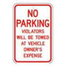 "R-400RA5 12"" x 18"" EGR Grade No Parking Violators Sign"
