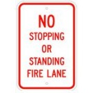 "R-114RA5 12"" x 18"" EGR Grade No Stopping Or Standing Fire Lane Sign"