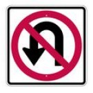 "R3-4S 24"" x 24"" EGR Grade No U Turn Symbol Sign"