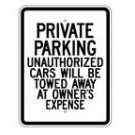 "G-44RA9 18"" x 24"" EGR Grade Private Parking (0thers Towed) Sign"