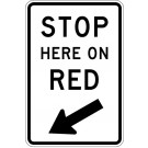 "R10-6RA18 24"" x 36"" ENG Grade Stop Here on Red Sign"