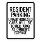 """G-88RA9 18"""" x 24"""" EGR Grade Resident Parking Sign"""