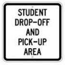 "S2-23 18"" x 18"" EGR Grade Student Drop-Off And Pick-Up Area Sign"