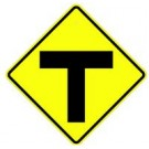 "W2-4 30"" x 30"" High Intensity T-Intersection Symbol Sign"