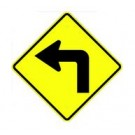 "W1-1L 30"" x 30"" High Intensity Left Turn Symbol Sign"