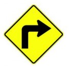 "W1-1R 30"" x 30"" High Intensity Right Turn Symbol Sign"