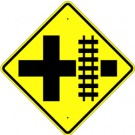 W10-2  High Intensity Cross Road with Track Sign