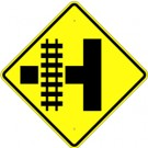 W10-3 High Intensity Side Road with Track Sign