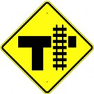 W10-4 High Intensity T-Road with Track Sign