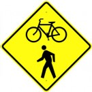 W11-15 High Intensity Bicycle with Pedestrian Sign