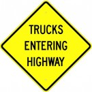 "W16-3  High Intensity 36"" x 36"" Trucks Entering Highway Sign"