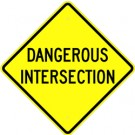 W2-66  High Intensity Dangerous Intersection Sign