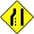 "W4-2L  36"" x 36"" High Intensity Left Lane Ends Symbol Sign"