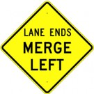 W9-2 High Intensity Lane Ends Merge Left Sign