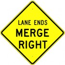 W9-2RHIA22 High Intensity Lane Ends Merge Right Sign