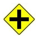 "W2-1 30"" x 30"" High Intensity Cross Road Symbol Sign"