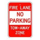 "R-401RA5 12"" x 18"" EGR Grade Fire Lane No Parking Tow-Away Zone Sign"