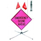 "48"" Pink Incident Management Fold & Roll, Roll-Up Sign System"
