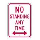"R7-4RA5 12"" x 18"" EGR Grade No Standing Any Time Arrow Both Ways Sign"