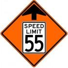 "W3-5  Speed Reduction Arrow/ Speed Limit  36"" x 36"" High Intensity Aluminum Sign"